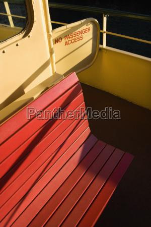 bench on ferryboat
