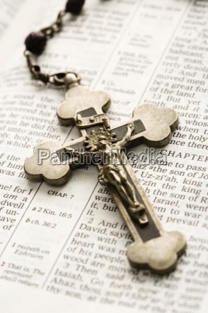 crucifix on bible