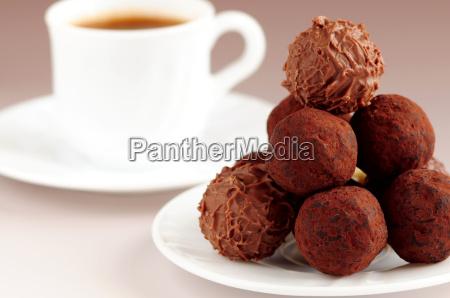 chocolate truffles and coffee
