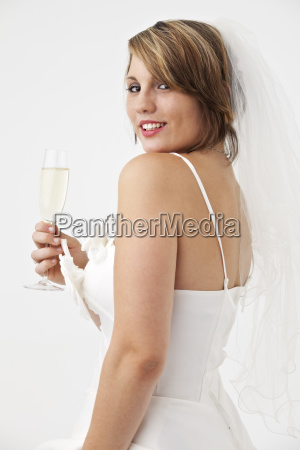 beautiful young woman in a wedding
