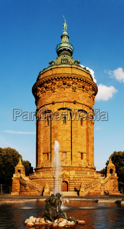 mannheim water tower in the evening