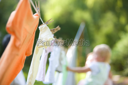 clothes drying on a clothesline