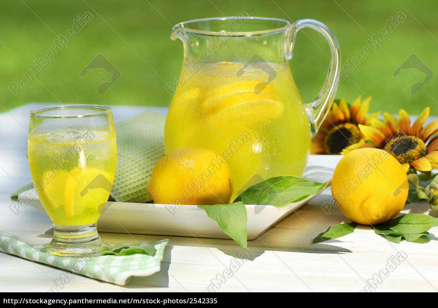 pitcher, of, cool, lemonade, with, glass - 2542335