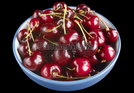 cherries in a bowl isolated on