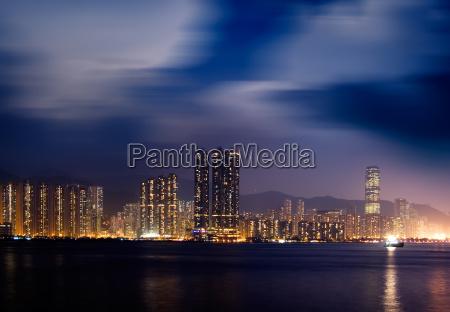night scenes of victoria harbor in