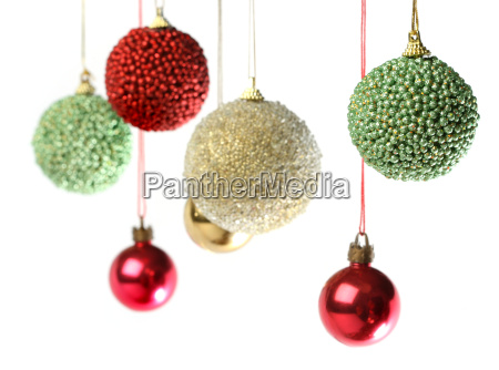 group of christmas decorations hanging