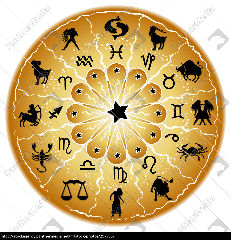Stock Photo 2573867 - golden horoscope wheel