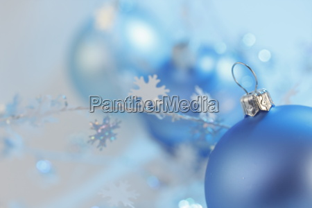 three blue baubles