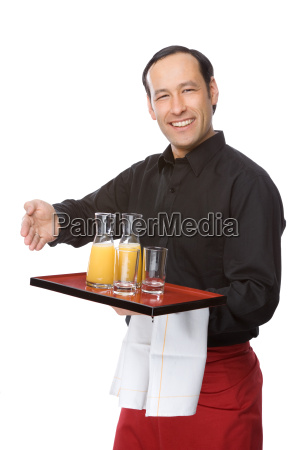 waiter served orange juice