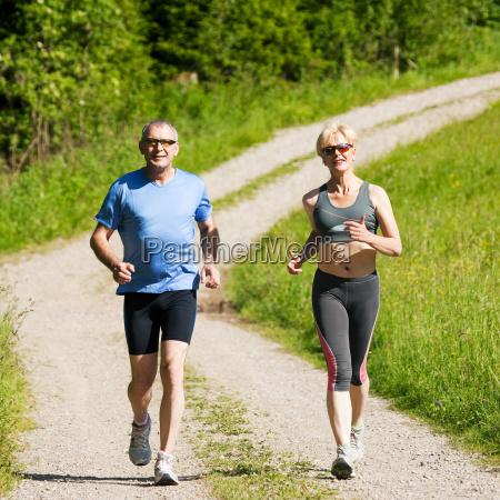 elderly couple sport jogging