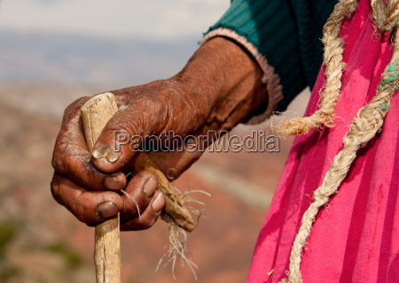 hands of a peasant woman latin