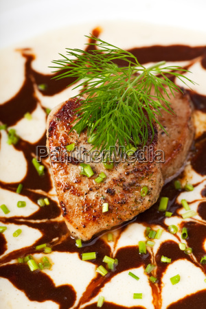 small veal steaks in two sauce