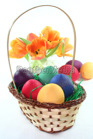 easter basket with easter eggs and