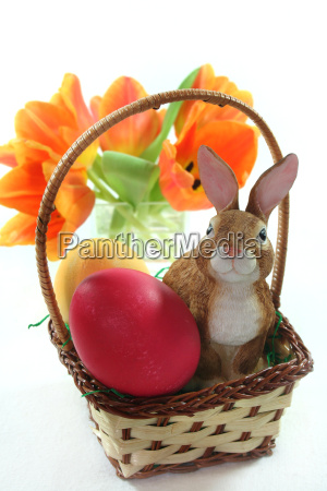 easter basket with eggs and bunny