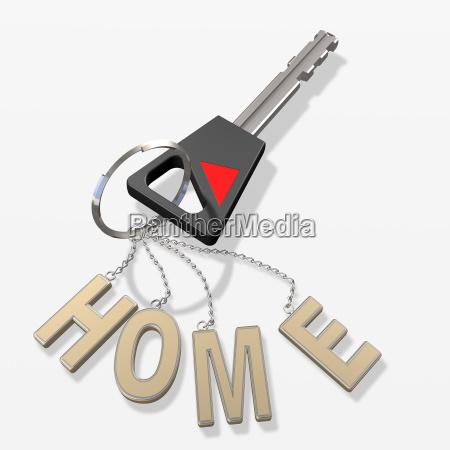 house key and keychain