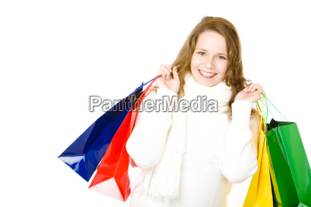 young attractive smiling woman after shopping