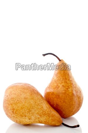 vertical close up of two pears