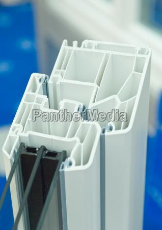 cutaway model of plastic window frames