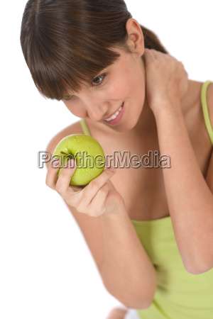 happy, teenager, holding, healthy, apple - 2809763