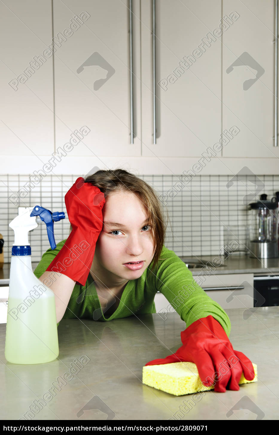 tired, girl, cleaning, kitchen - 2809071