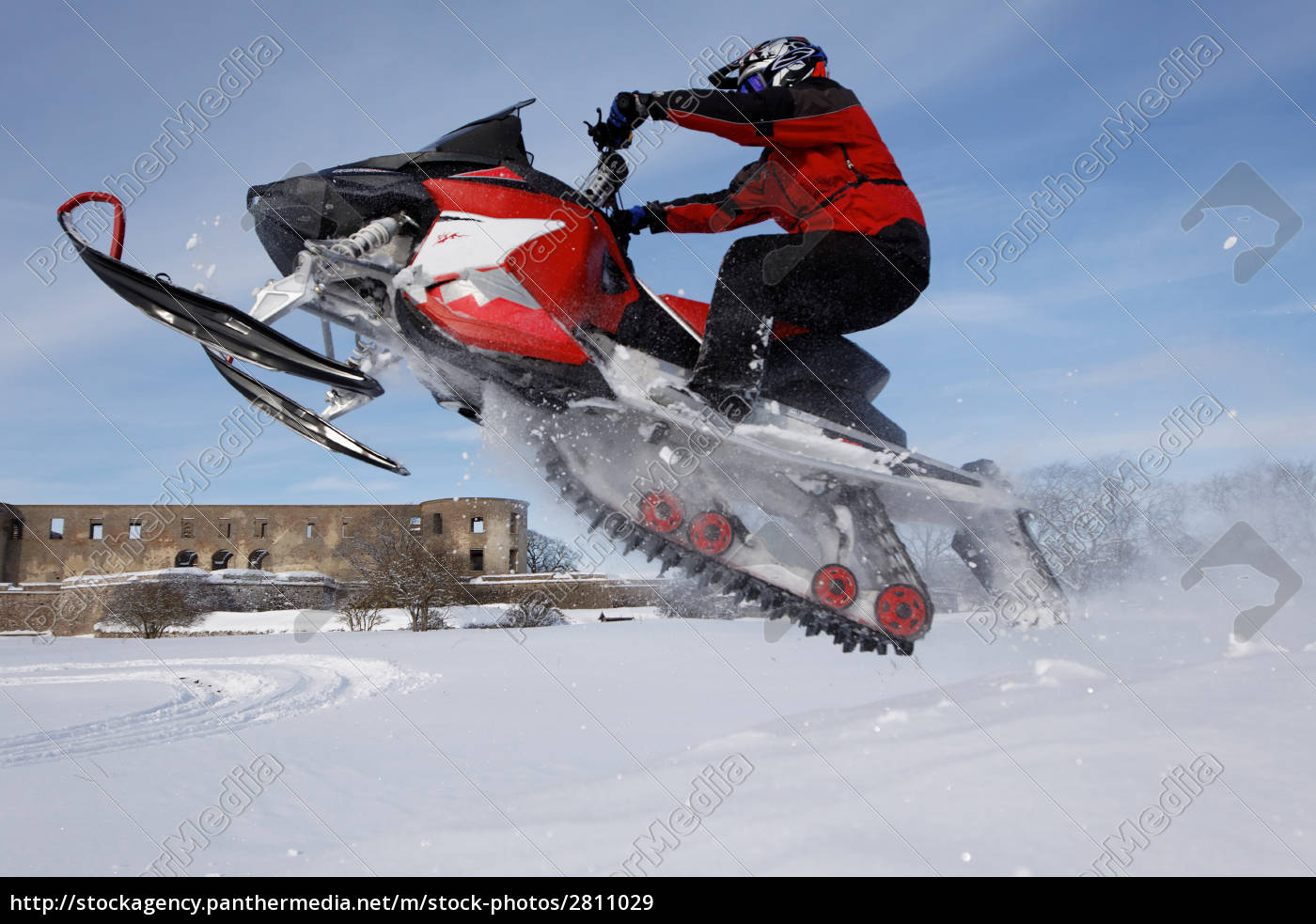 snowmobile, in, jump - 2811029