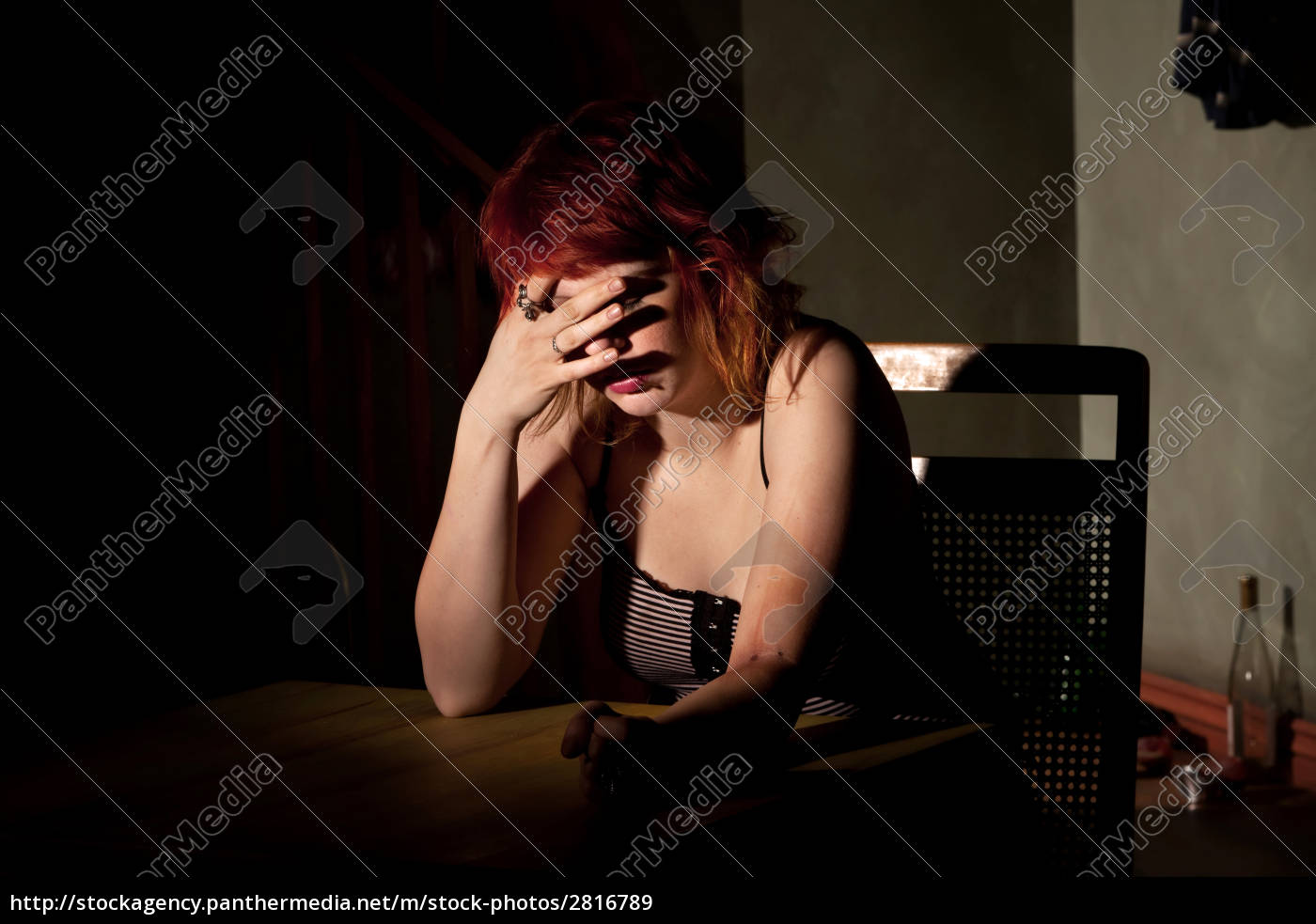 depressed, young, woman, alone, in, a - 2816789