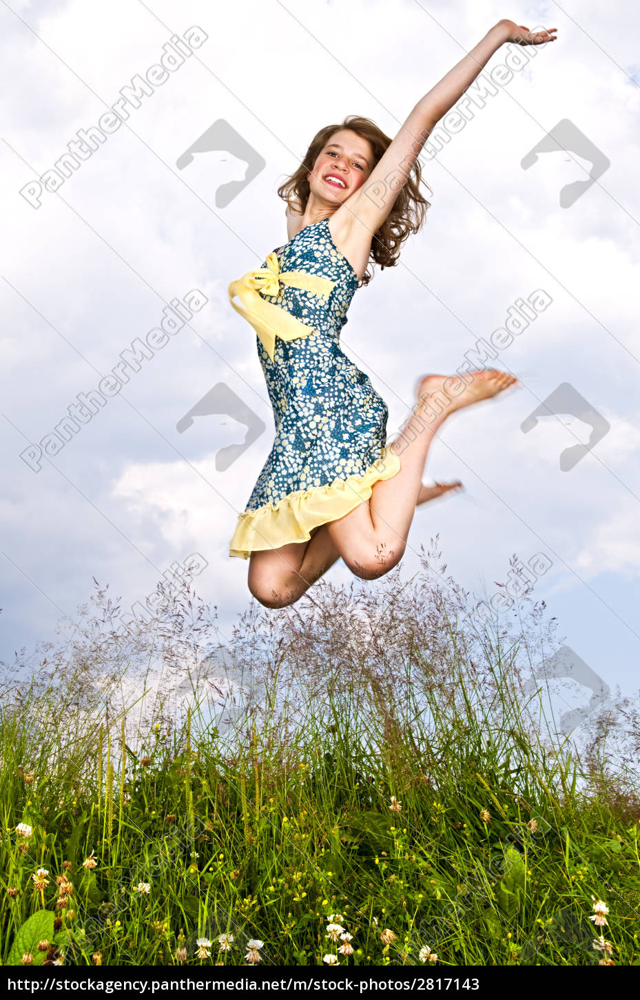 young, girl, jumping, in, meadow - 2817143