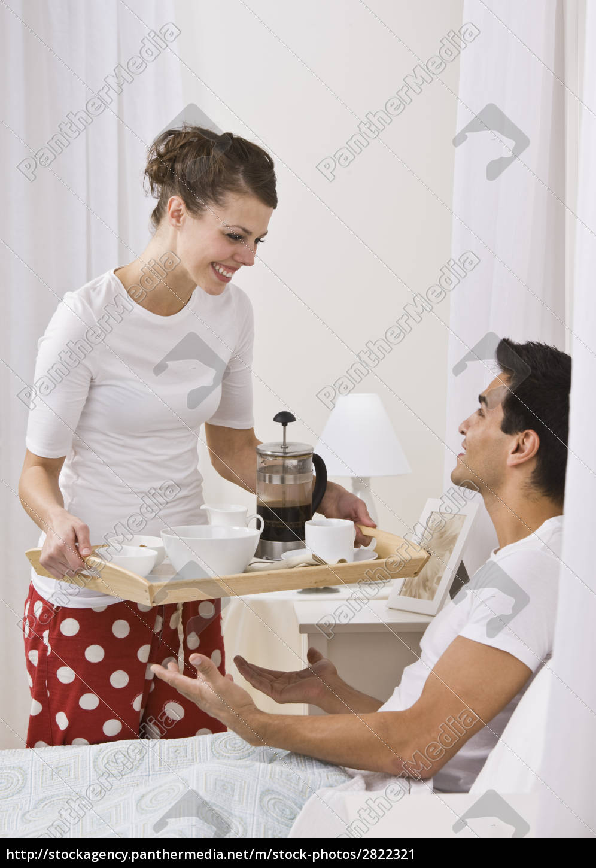 attractive, woman, serving, breakfast, in, bed. - 2822321