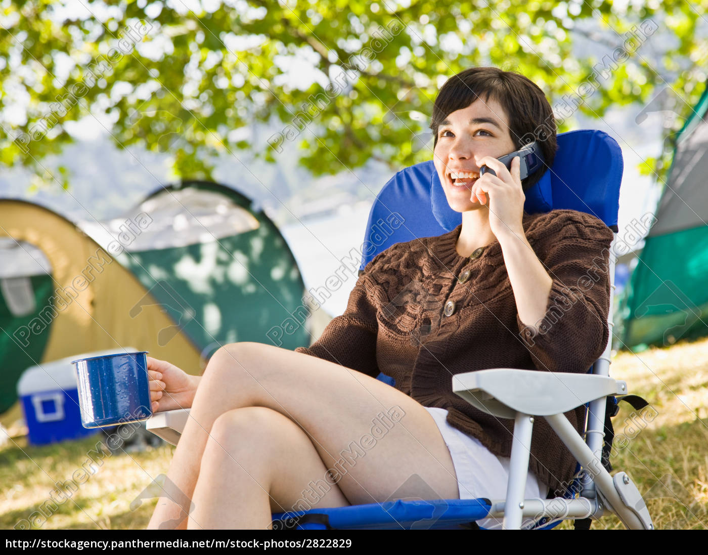 camper, talking, on, cell, phone - 2822829