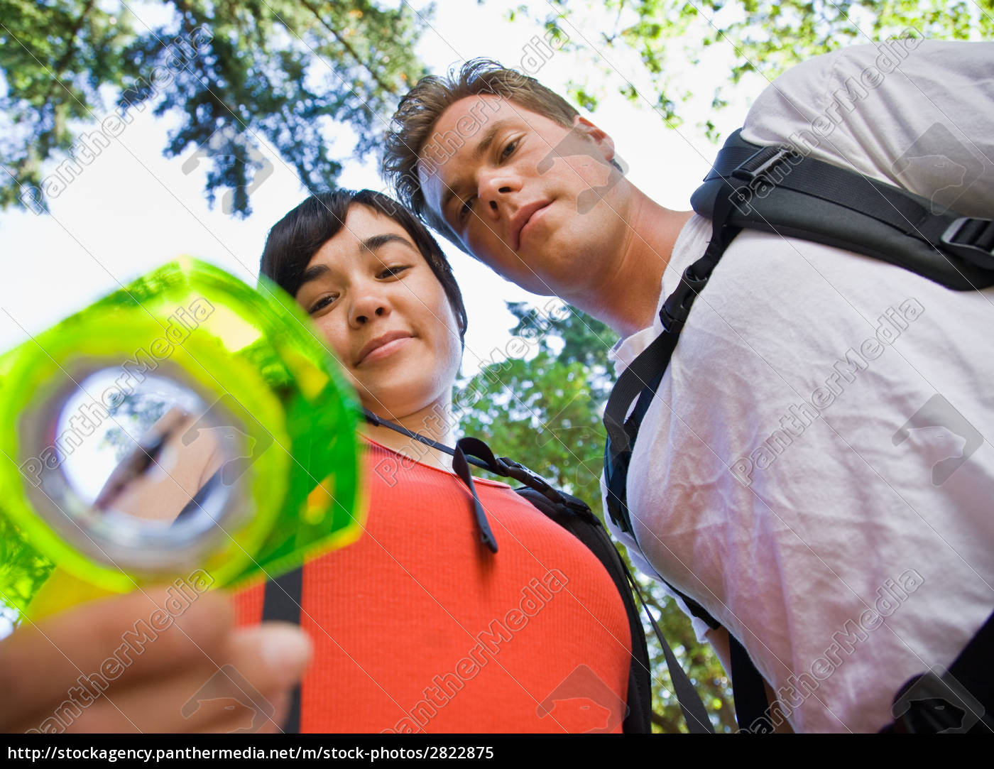 couple, with, backpacks, looking, at, compass - 2822875