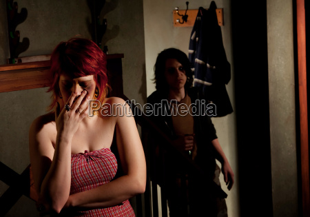 frightened, young, woman, with, menacing, alcoholic - 2822491