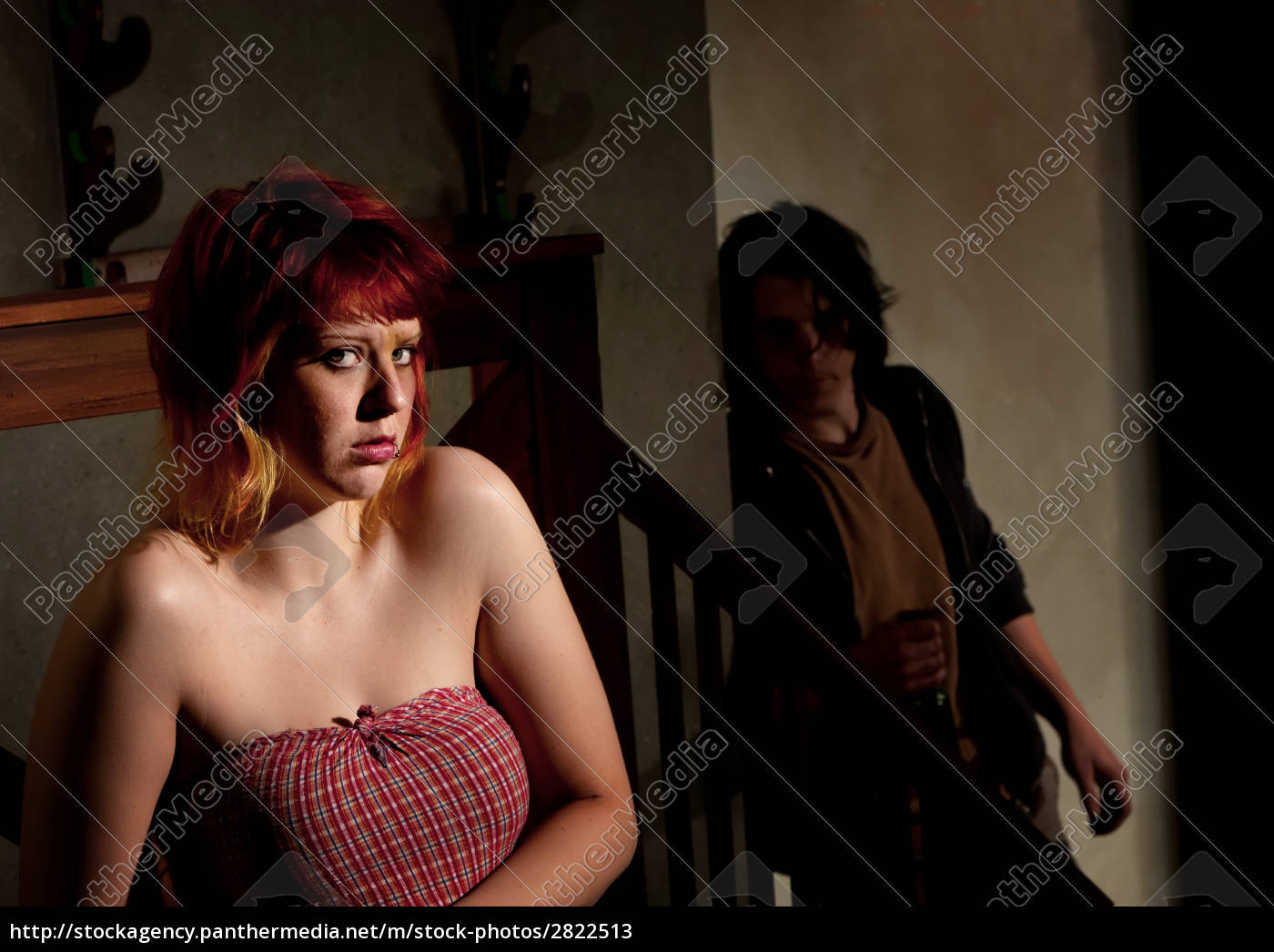 frightened, young, woman, with, menacing, alcoholic - 2822513