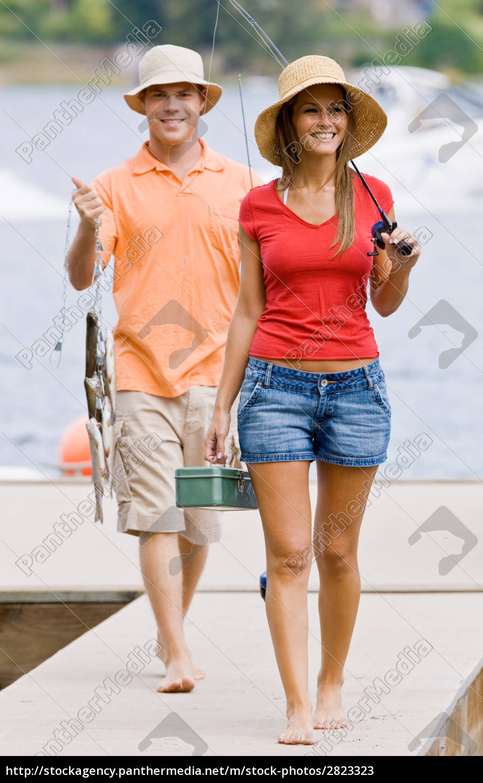 couple, fishing, on, pier - 2823323