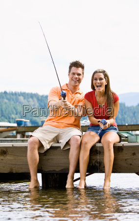 couple, fishing, on, pier - 2823405