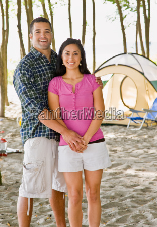 couple, holding, hands, at, campsite - 2823567