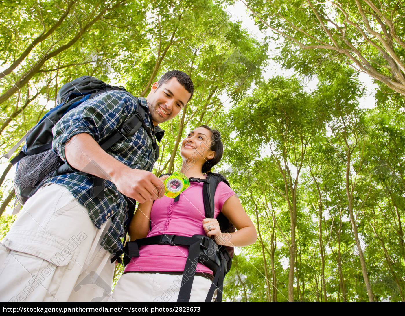 couple, in, backpacks, looking, at, compass - 2823673