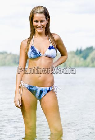 woman, wading, in, lake, water - 2823445