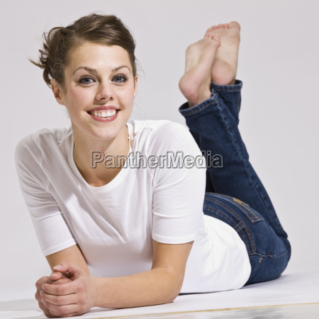 attractive, woman, lying, down, and, smiling - 2824133