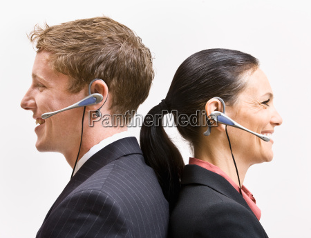 business, people, in, headsets, standing, back - 2824231