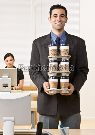 businessman, carrying, tray, of, coffee - 2824155