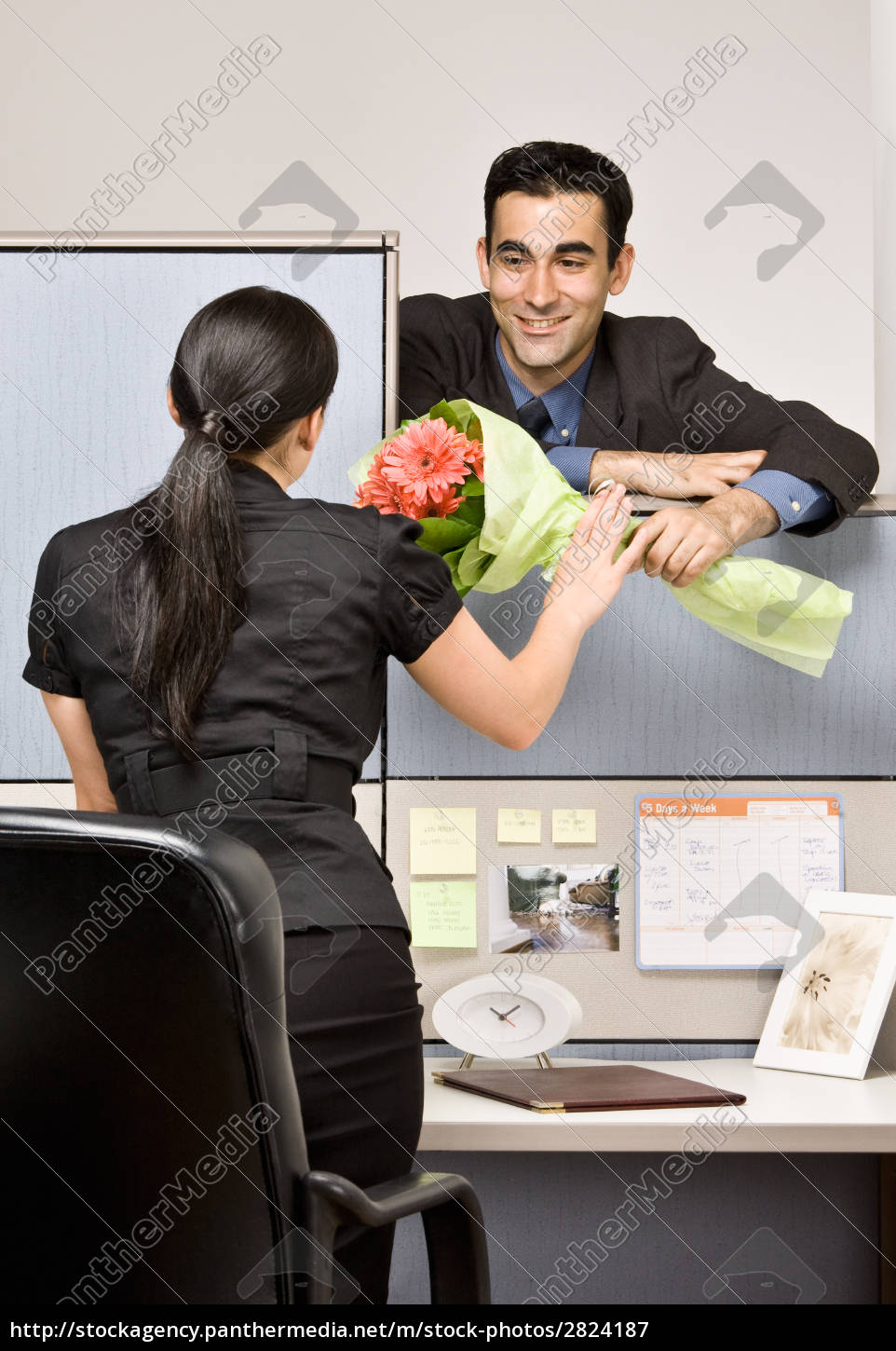 businessman, giving, co-worker, flowers - 2824187