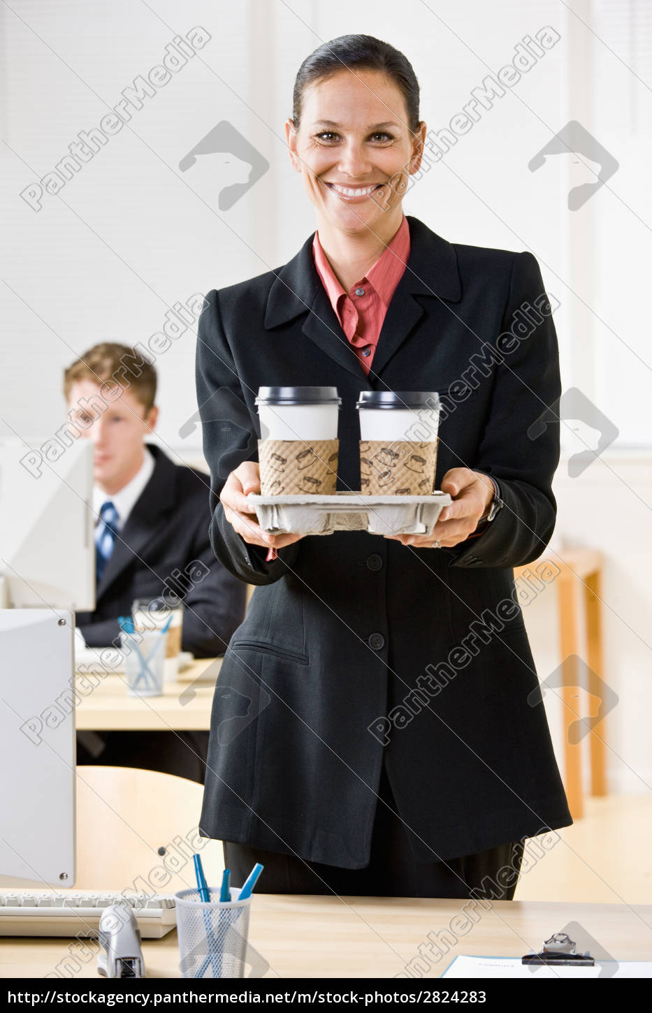 businesswoman, carrying, tray, of, coffee - 2824283