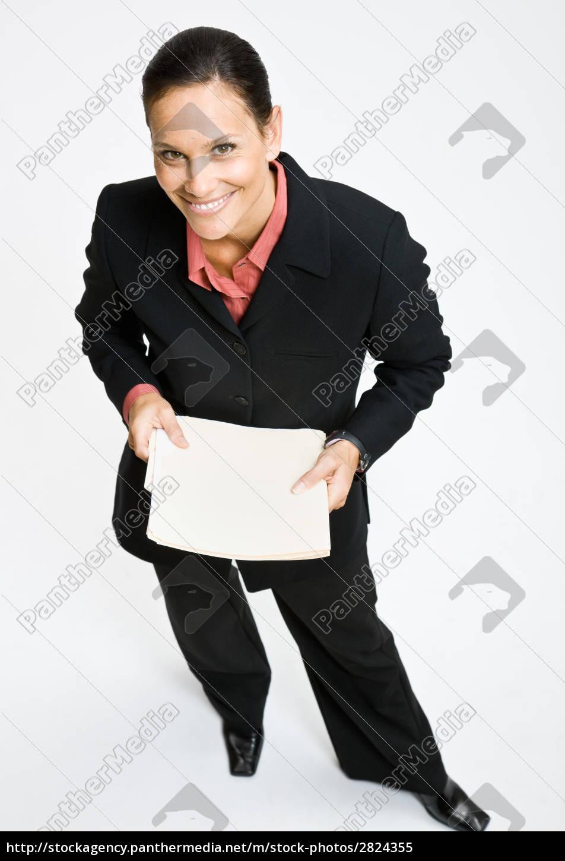 businesswoman, holding, file, folders - 2824355
