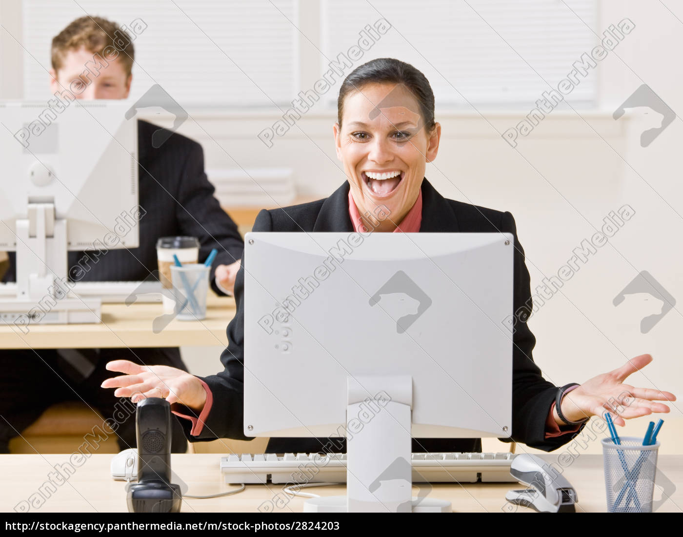 businesswoman, laughing, at, monitor - 2824203
