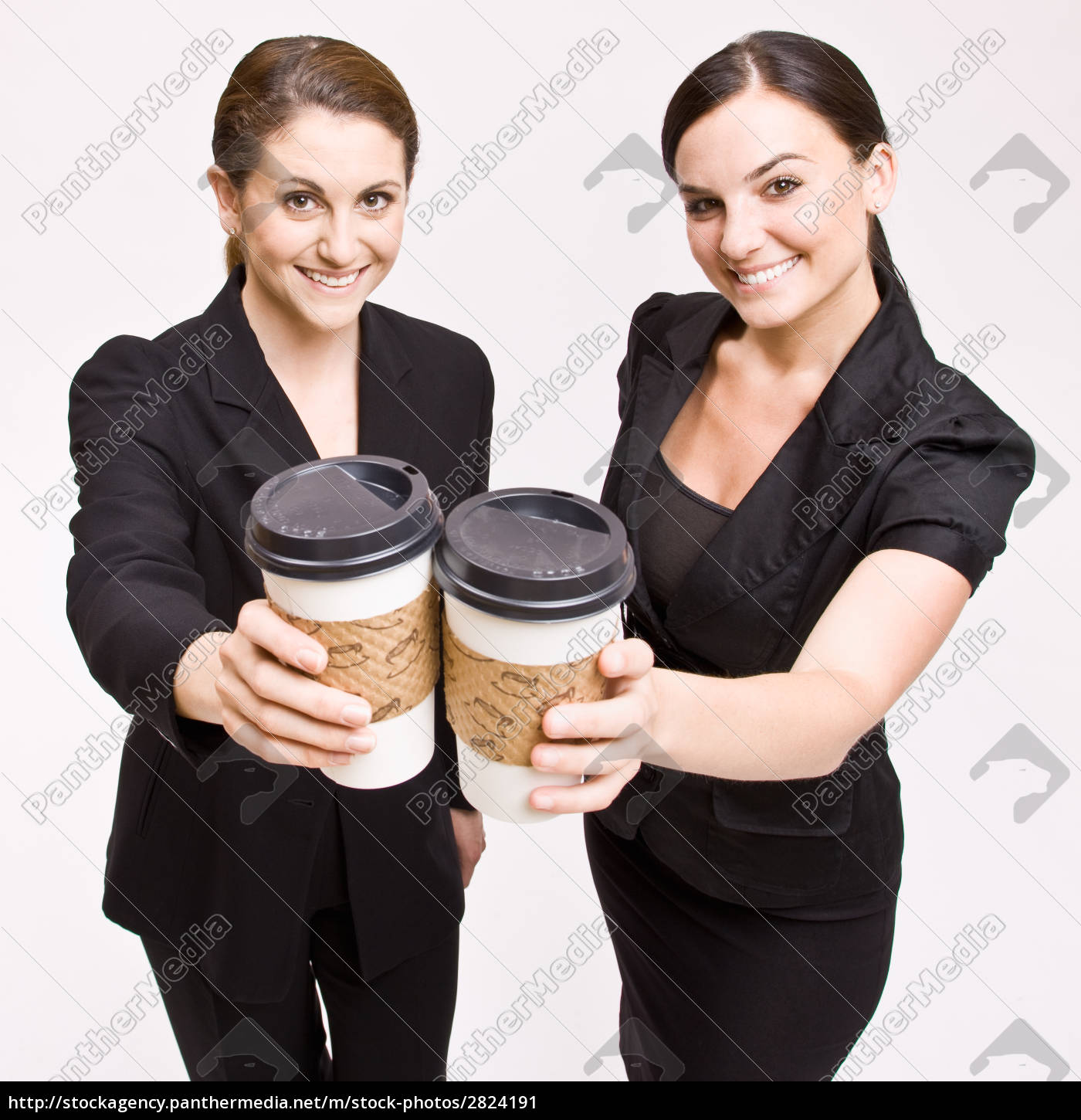 businesswoman, toasting, with, coffee, cups - 2824191