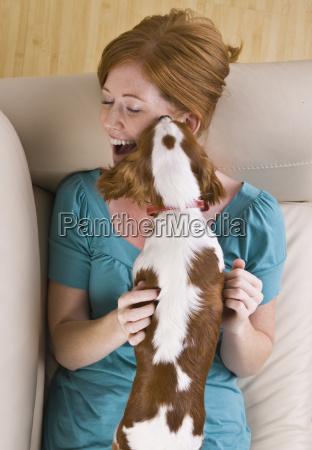 dog, licking, woman - 2824091