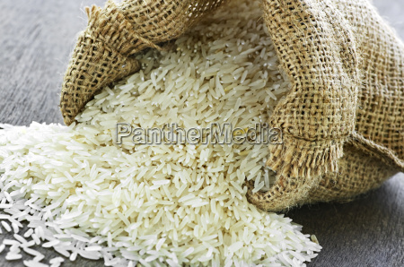 long, grain, rice, in, burlap, sack - 2829379
