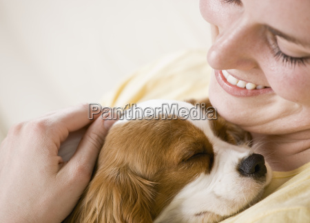 young, woman, holding, dog - 2831599