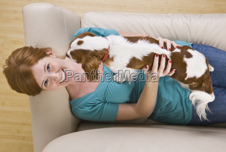 attractive woman and dog