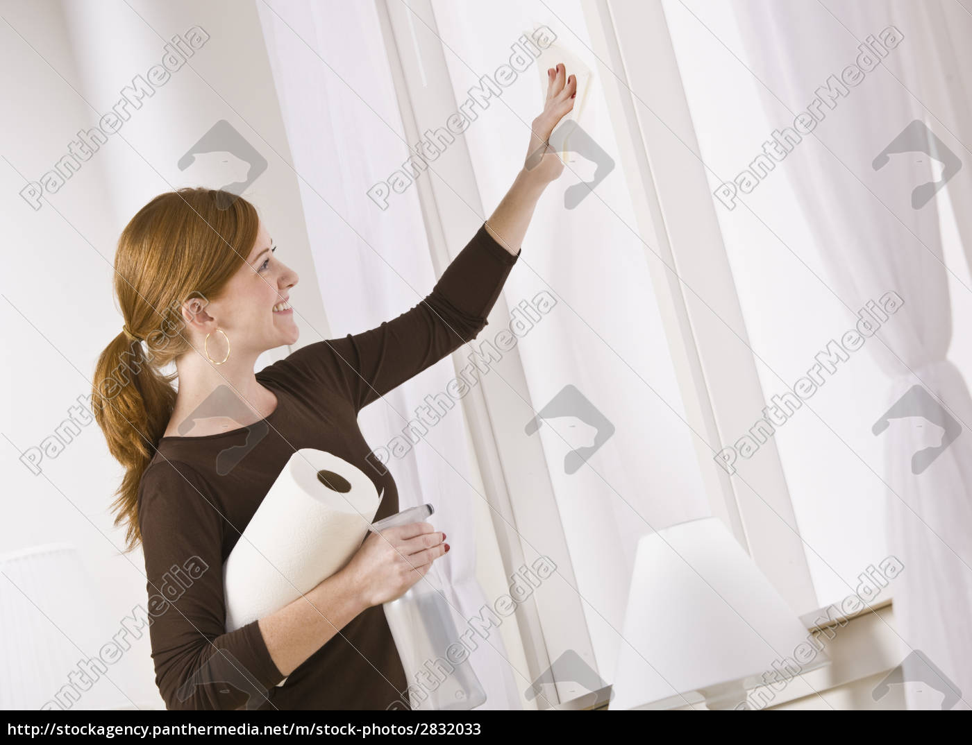 attractive, woman, cleaning, window - 2832033